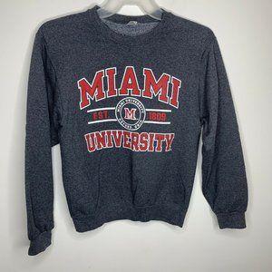 Jerzees Mens S Grey/Red Miami University Sweater
